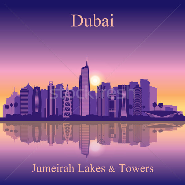 Dubaï Skyline silhouette ville illustration Photo stock © Ray_of_Light