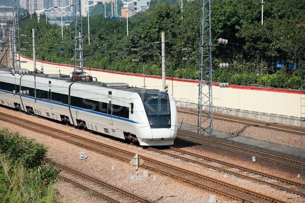 Vonat fut sín sebesség fut szállítás Stock fotó © raywoo
