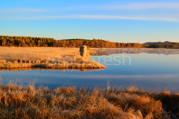 Sunrise landscape of lake in grassland Stock photo © raywoo