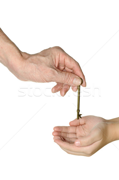 Two hands passing an old key Stock photo © raywoo