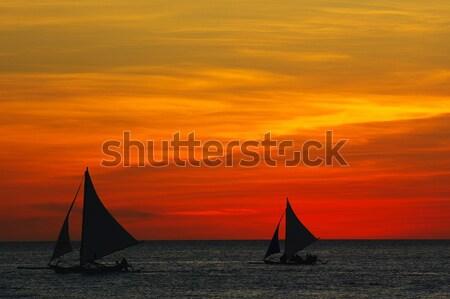 Ocean sunset glow landscape Stock photo © raywoo