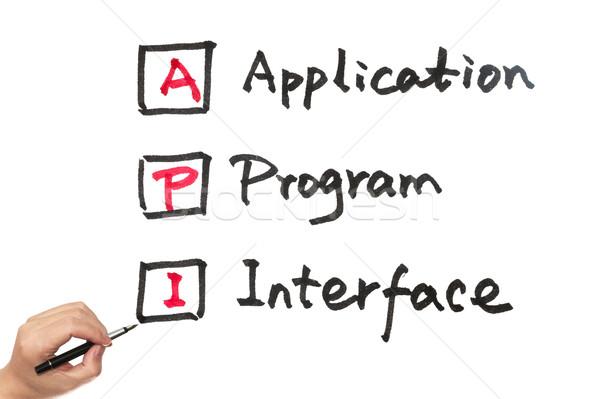 Aplicação programa interface palavras escrito papel Foto stock © raywoo