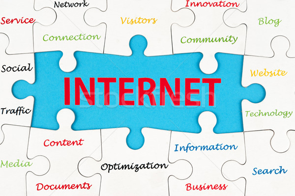 インターネット 単語 グループ ジグソーパズル ピース ネットワーク ストックフォト © raywoo