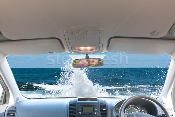 Oceano onda paisagem olhando fora carro janela Foto stock © raywoo