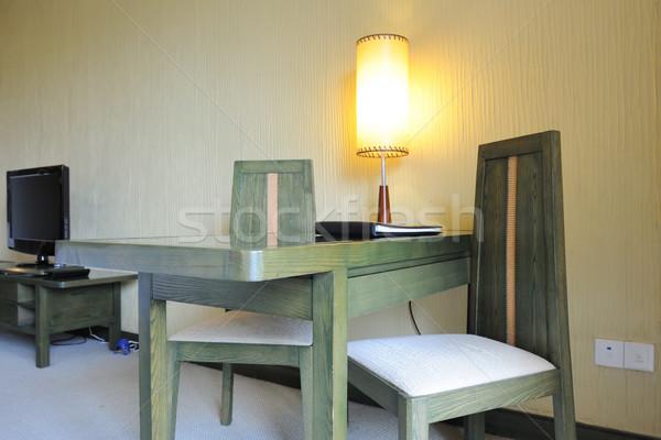 Desk sedie lampada stanza luce design Foto d'archivio © raywoo