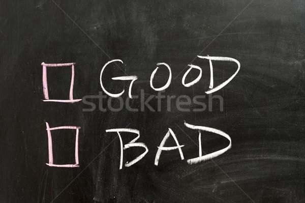 Iyi kötü seçenekleri kara tahta tahta kavram Stok fotoğraf © raywoo