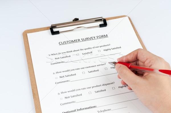 клиентов обзор форме заполнение красный пер Сток-фото © raywoo