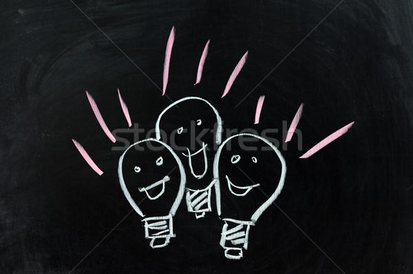 Groep lampen krijttekening schrijven brief lamp Stockfoto © raywoo