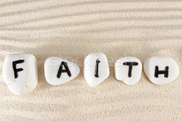 веры слово группа камней песок текстуры Сток-фото © raywoo