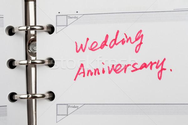 Házassági évforduló szavak írott notebook esküvő könyv Stock fotó © raywoo