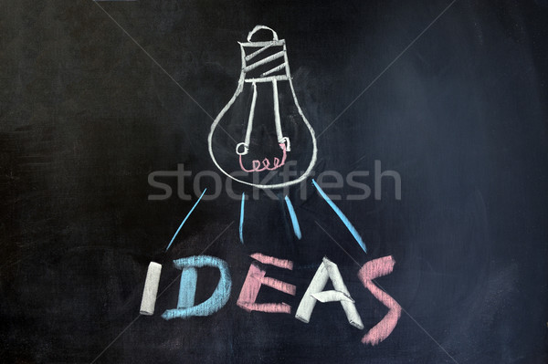 Lamp ideeën krijttekening licht schrijven brief Stockfoto © raywoo
