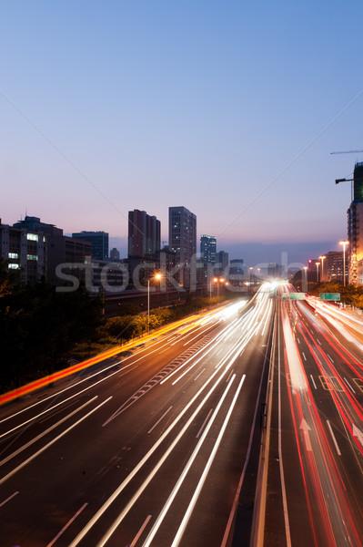 ストックフォト: 夜景 · 市泊 · シーン · 方法 · 車
