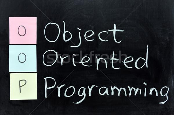 Object programmering krijt schrijven software Blackboard Stockfoto © raywoo