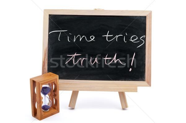 время правда написанный доске песочных часов Сток-фото © raywoo