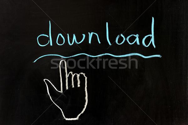 Downloaden hand krijttekening computer abstract technologie Stockfoto © raywoo
