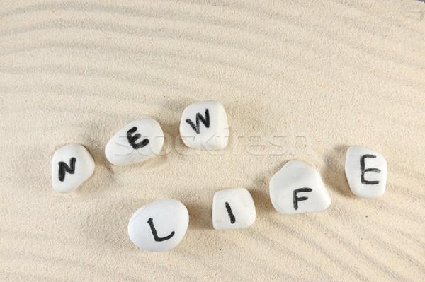 új élet szó csoport kavicsok homok textúra Stock fotó © raywoo