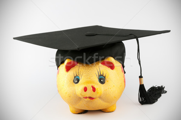 Graduation cap and piggy bank Stock photo © raywoo