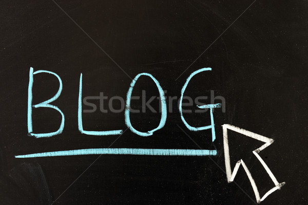 Blog krijttekening woord geschreven schoolbord web Stockfoto © raywoo