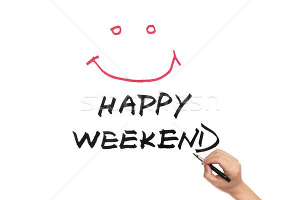 Szczęśliwy weekend słowa napisany biały papieru Zdjęcia stock © raywoo