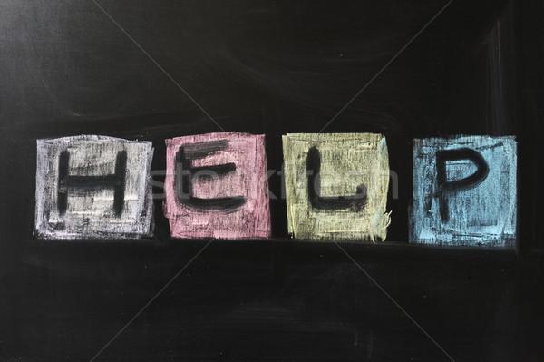 Helpen krijttekening woord geschreven schoolbord schrijven Stockfoto © raywoo