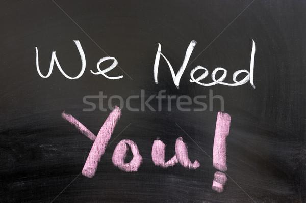 Szükség szavak írott tábla levél iskolatábla Stock fotó © raywoo