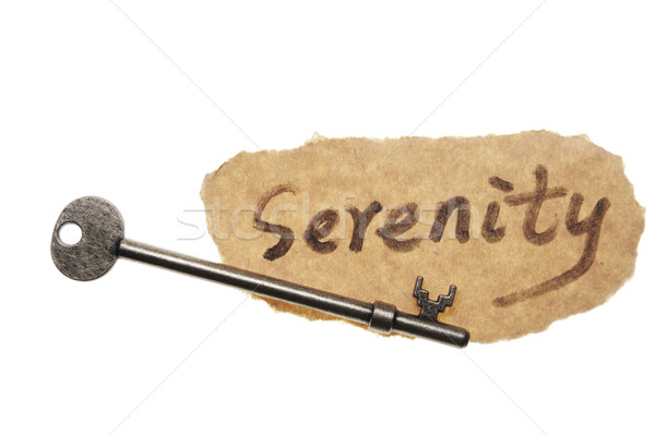 Old key and serenity word Stock photo © raywoo