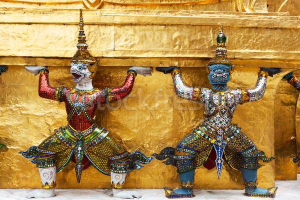 Bangkok Tayland iki heykel dev ibadet Stok fotoğraf © raywoo