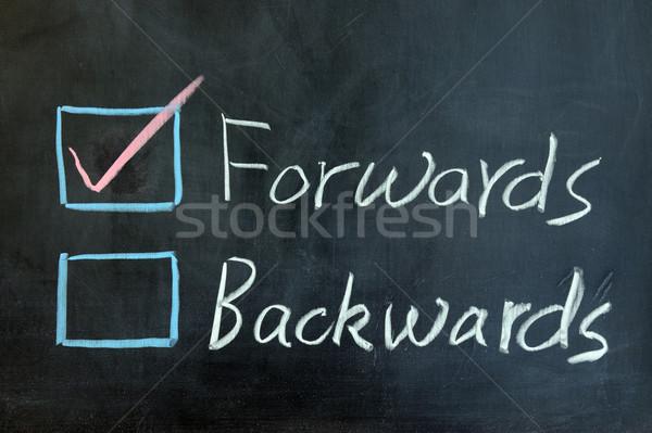 Visszafelé krétarajz felirat ír iskolatábla ötlet Stock fotó © raywoo
