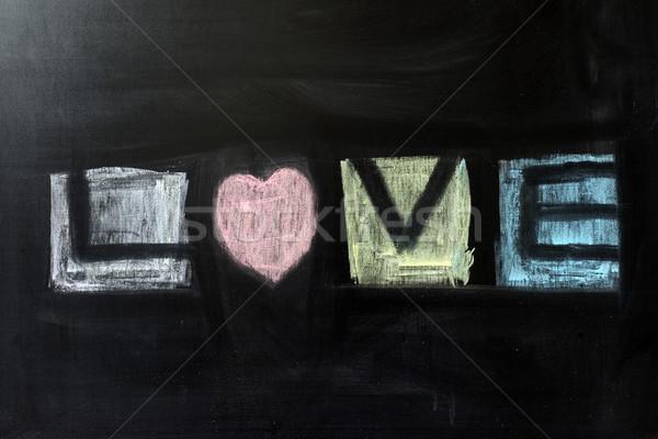 Szeretet szó krétarajz írott tábla terv Stock fotó © raywoo