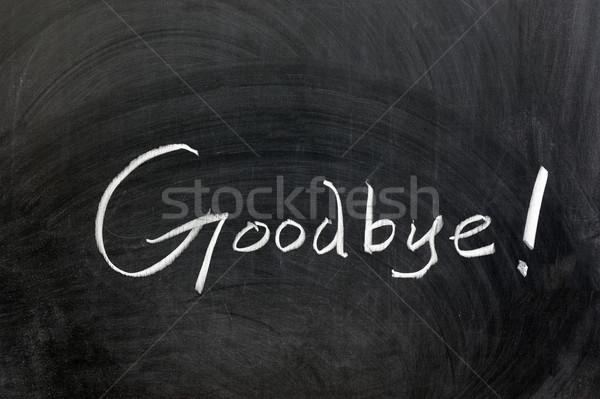 Viszlát krétarajz szó írott tábla ír Stock fotó © raywoo