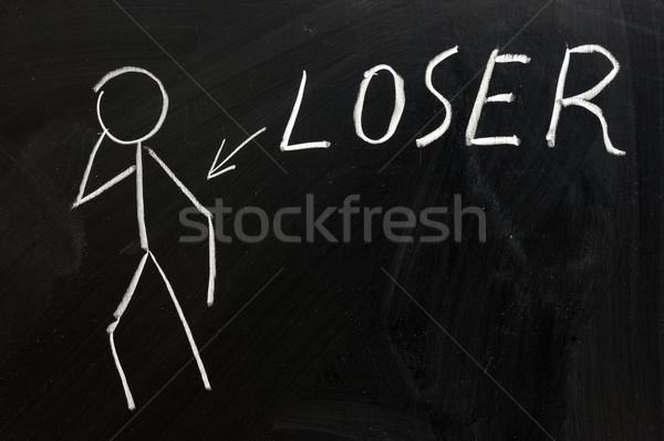 Verliezer krijttekening teken schrijven brief zwarte Stockfoto © raywoo