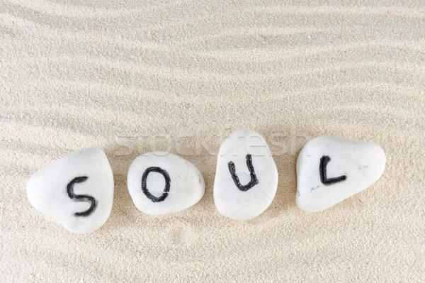 Anima parola gruppo pietre sabbia texture Foto d'archivio © raywoo