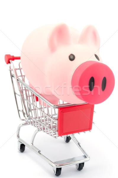 Piggy bank carrinho de compras branco compras mercado supermercado Foto stock © raywoo