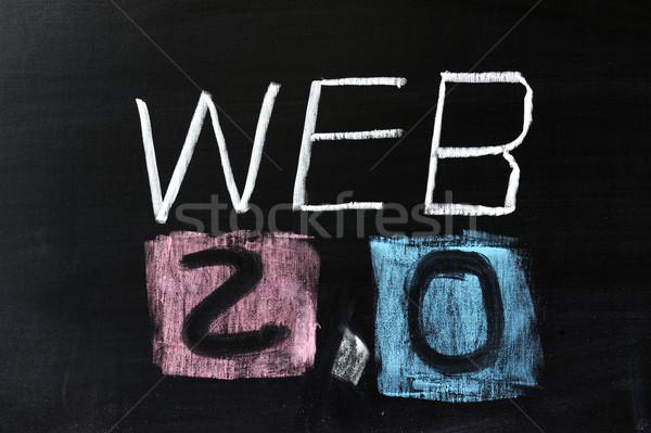 Web 20 dessin à la craie internet technologie écrit Photo stock © raywoo