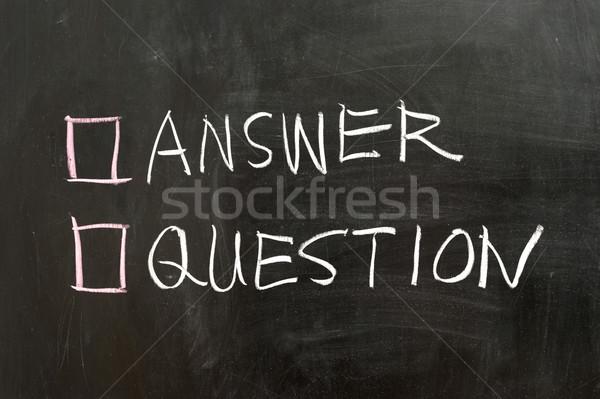 Válasz kérdés lehetőségek tábla információ iskolatábla Stock fotó © raywoo