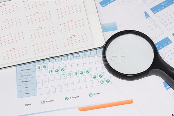 Projektu harmonogram kalendarza tabletka ekranu Zdjęcia stock © raywoo