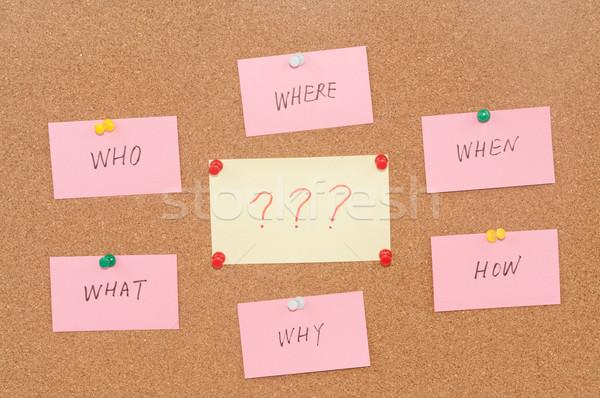 Vragen wat hout communicatie denken vraag Stockfoto © raywoo
