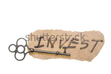 Old key and my heart words Stock photo © raywoo
