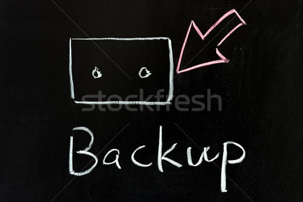 Biztonsági mentés krétarajz ír fekete digitális információ Stock fotó © raywoo