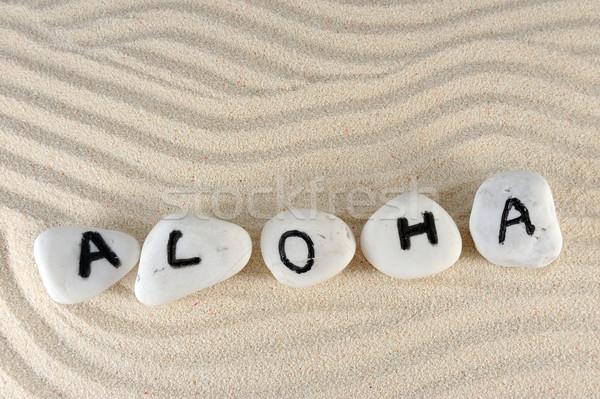 アロハ 言葉 グループ 石 砂 背景 ストックフォト © raywoo