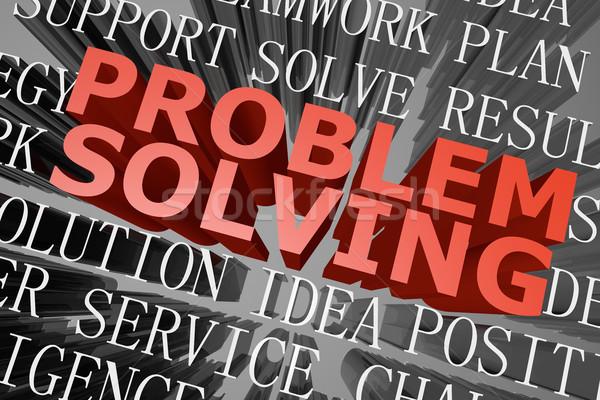 Problémamegoldás szófelhő 3D renderelt üzlet munka Stock fotó © raywoo