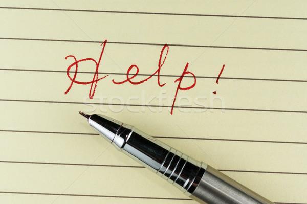 Ajudar palavra escrito papel caneta escritório Foto stock © raywoo