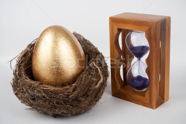 金の卵 砂時計 鳥の巣 クロック 卵 ストックフォト © raywoo