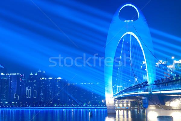 ストックフォト: 橋 · 夜景 · スポット · 光 · 輝かしい · 市