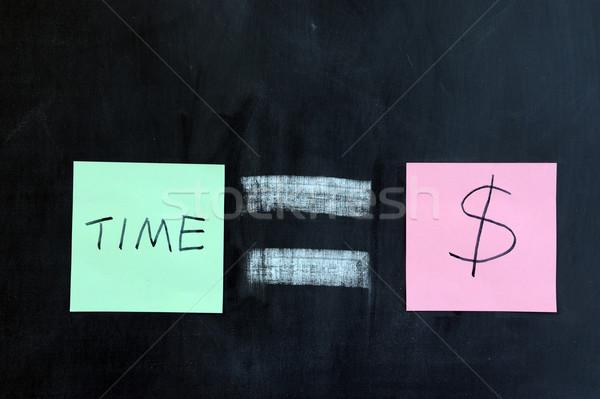 Время-деньги рисунок мелом бизнеса деньги Дать время Сток-фото © raywoo