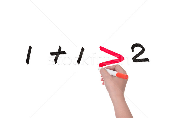 Een hand schrijven teamwerk Stockfoto © raywoo