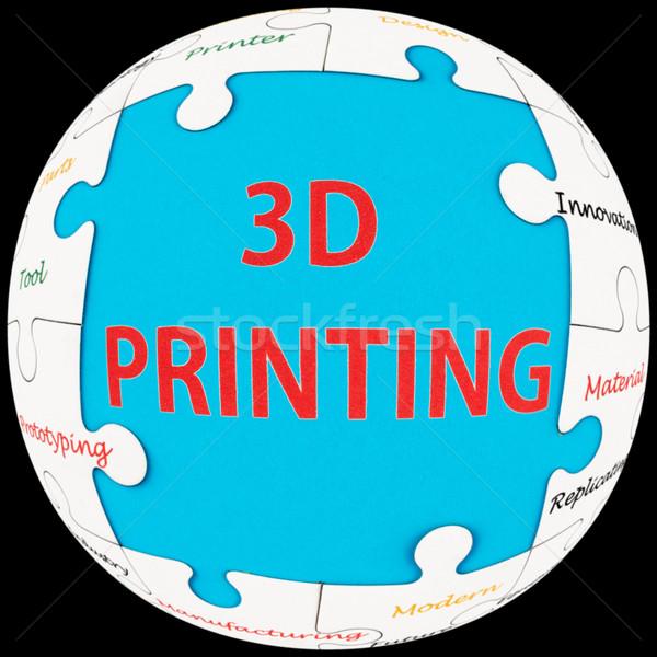 3D печати слов слово облако головоломки сфере Сток-фото © raywoo