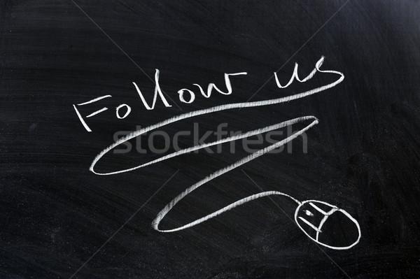 Egér rajzolt tábla internet háló ír Stock fotó © raywoo