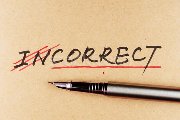 Helytelen helyes szó textúra toll szöveg Stock fotó © raywoo