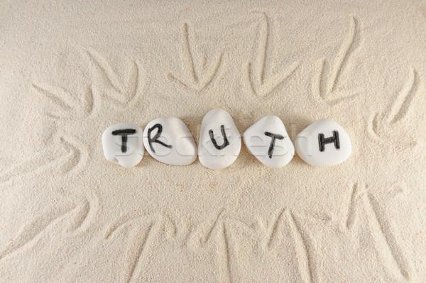 真実 言葉 グループ 石 砂 テクスチャ ストックフォト © raywoo